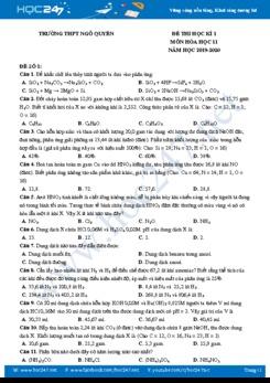 Bộ đề thi HK1 môn Hóa học 11 năm 2019-2020 Trường THPT Ngô Quyền