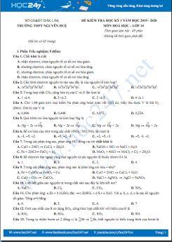 Đề kiểm tra HK1 môn Hóa học 10 năm 2019-2020 có đáp án chi tiết Trường THPT Nguyễn Huệ