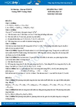 Bộ 3 đề kiểm tra 1 tiết môn Hóa học 10 năm 2019-2020 Trường THPT Trường Chinh