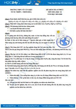 Đề kiểm tra 45 phút môn Hóa học năm 2019-2020 Trường THPT Võ Văn Kiệt