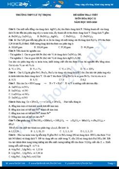Đề kiểm tra 1 tiết môn Hóa học 12 năm 2019-2020 Trường THPT Lý Tự Trọng