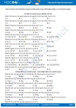 Bài luyện tập Chương 5 Đại cương kim loại môn Hóa học 12 năm 2019-2020