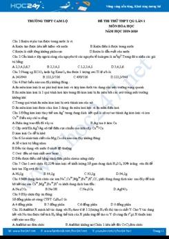 Đề thi thử THPT QG môn Hóa học lần 1 năm 2019-2020 Trường THPT Cam Lộ