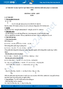 Lý thuyết và bài tập ôn tập theo từng chương môn Hóa học 12 năm 2019-2020