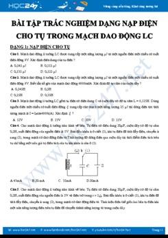 Bài tập trắc nghiệm Vật lý 12 chủ đề Nạp điện cho tụ trong Mạch dao động