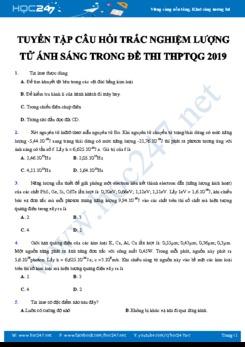 Tuyển tập câu hỏi trắc nghiệm về Lượng tử ánh sáng trong đề thi THPTQG 2019