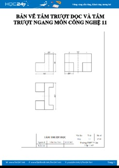 Bản vẽ hình chiếu của tấm trượt dọc và tấm trượt ngang môn Công nghệ 11