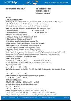 Bộ 3 đề kiểm tra 1 tiết môn Hóa học 10 năm 2019-2020 Trường THPT Vĩnh Chân