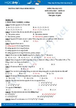 Bộ 4 đề thi HK1 có đáp án môn Hóa học 10 năm 2019-2020 Trường THPT Phan Đình Phùng