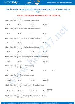 65 câu trắc nghiệm Phương trình Elip có lời giải chi tiết