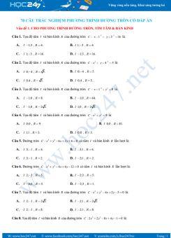 70 câu trắc nghiệm Phương trình đường tròn có lời giải chi tiết