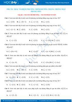 190 câu trắc nghiệm Phương trình đường thẳng có lời giải chi tiết
