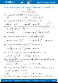 60 câu trắc nghiệm Hệ thức lượng trong tam giác và Giải tam giác có lời giải chi tiết