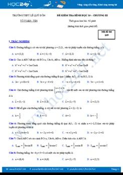 Bộ 6 đề kiểm tra 1 tiết Chương 3 Hình học 10 có lời giải chi tiết