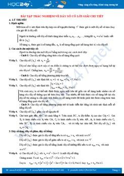 Bài tập trắc nghiệm về Dãy số năm học 2019 - 2020 có lời giải chi tiết