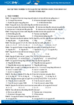 Bài tập trắc nghiệm và tự luận ôn tập Chương 2 bảng tuần hoàn các nguyên tố Hóa học