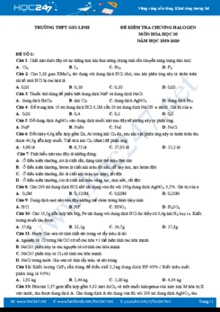 Bộ 2 đề kiểm tra chương Halogen môn Hóa học 10 năm 2019-2020 Trường THPT Gio Linh