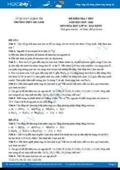 Bộ 4 đề kiểm tra 1 tiết môn Hóa học 10 năm 2019-2020 Trường THPT Gio Linh