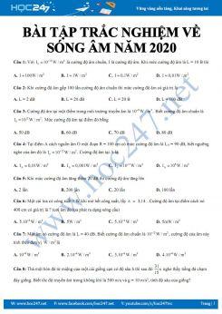 32 bài tập trắc nghiệm Vật lý 12 có lời giải chi tiết về Sóng âm năm 2020