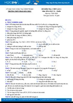 Bộ 3 đề kiểm tra 1 tiết lần 2 môn Hóa học 10 năm 2019-2020 Trường THPT Phan Bội Châu