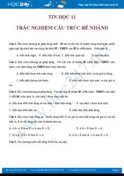 Bài tập trắc nghiệm Cấu trúc rẽ nhanh Tin học 11