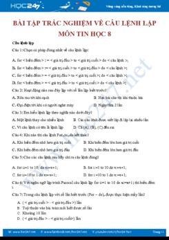 Bài tập trắc nghiệm về câu lệnh lặp môn Tin 8 năm 2019