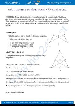 5 Bài toán hay từ hình thang cân và tam giác