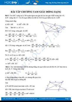 Bài tập Chương Tam giác đồng dạng Hình học 8 năm 2019