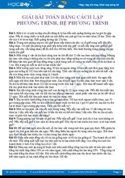 Bài tập Giải bài toán bằng cách lập phương trình Toán 9 năm 2020