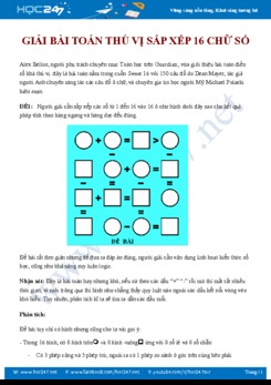 Bài toán thú vị sắp xếp 16 chữ số