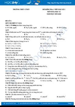 Bộ 10 đề kiểm tra 1 tiết có đáp án HK2 môn Hóa học 12 năm 2020 Trường THPT Cờ Đỏ