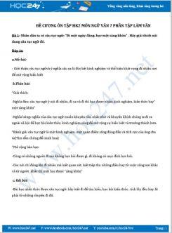 Đề cương ôn tập HK2  môn Ngữ Văn 7 phần Tập làm văn