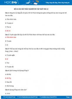 Bộ 50 câu hỏi trắc nghiệm ôn tập Ngữ Văn 12
