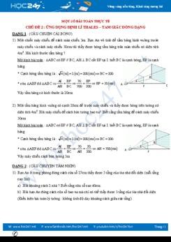 Một số bài toán thực tế liên quan đến tam giác đồng dạng Toán lớp 8