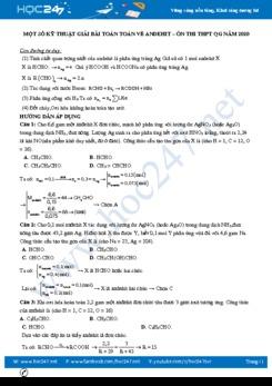 Một số kỹ thuật giải bài toán về Anđehit – Ôn thi THPT QG năm 2020 môn Hóa học
