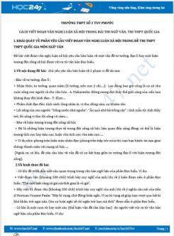 Cách viết đoạn văn nghị luận xã hội trong bài thi Ngữ Văn ôn thi THPT QG năm 2020 - Trường THPT Số 2 Tuy Phước