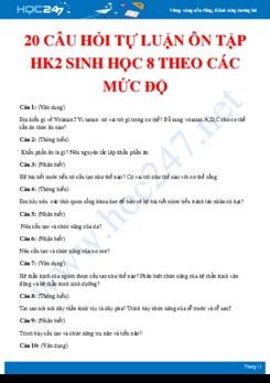 20 Câu hỏi tự luận ôn tập HK2 Sinh học 8 theo các mức độ có đáp án