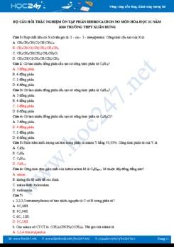 Bộ câu hỏi trắc nghiệm ôn tập phần Hiđrocacbon no môn Hóa học 11 Trường THPT Xuân Hưng