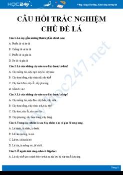 30 Câu hỏi trắc nghiệm ôn tập chủ đề Lá Sinh học 6 có đáp án