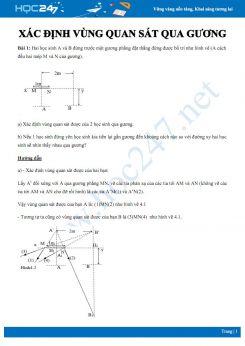 Bài tập Quang học Vật lý 7 về Xác định vùng quan sát qua gương có đáp án