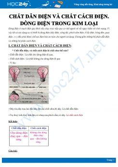 Tổng hợp kiến thức về Chất dẫn điện và chất cách điện. Dòng điện trong kim loại môn Vật lý 7
