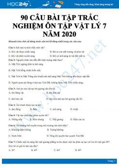 90 câu bài tập trắc nghiệm ôn tập tổng hợp môn Vật lý 7 có đáp án năm 2020