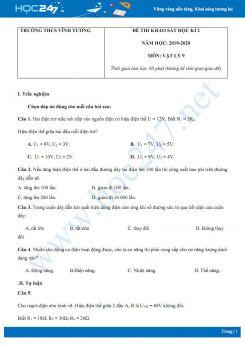 Đề thi khảo sát HK2 môn Vật lý 9 năm 2020 có đáp án chi tiết trường THCS Vĩnh Tường