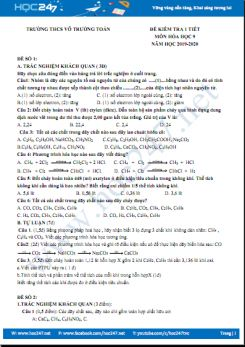Bộ 3 đề kiểm tra 1 tiết môn Hóa học 9 Trường THCS Võ Trường Toản