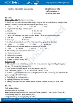 Bộ 3 đề kiểm tra 1 tiết môn Hóa học 9 Trường THCS Trần Quang Khải