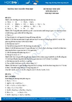 Bộ 4 đề thi HSG môn Hóa học 9 năm 2020 Trường THPT Nguyễn Vĩnh Nghiệp