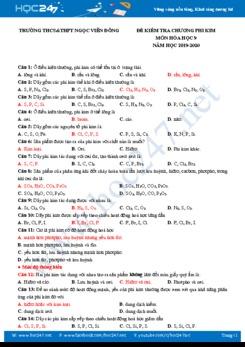 Đề kiểm tra Chương Phi Kim môn Hóa học 9 năm 2020 Trường THCS&THPT Ngọc Viễn Đông