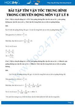 Bài tập tìm vận tốc trung bình trong chuyển động môn Vật lý 8 có đáp án