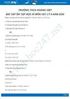 Bài tập ôn tập Học kì môn Vật lý 9 năm 2020 có lời giải chi tiết trường THCS Hoàng Việt