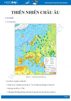 Lý thuyết và câu hỏi trắc nghiệm ôn tập về thiên nhiên châu Âu Địa lí 7